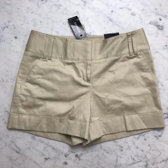 Express Pants - NWT Express Khaki Chino Tan Flat Front Shorts 2